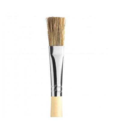 Gray bristle, flat tip artistic brush